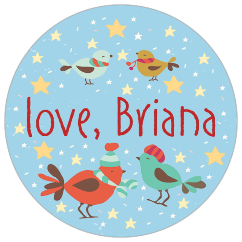small circle food/craft labels - sky - merry birdies (set of 70)