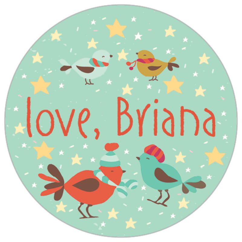 small circle food/craft labels - mint - merry birdies (set of 70)
