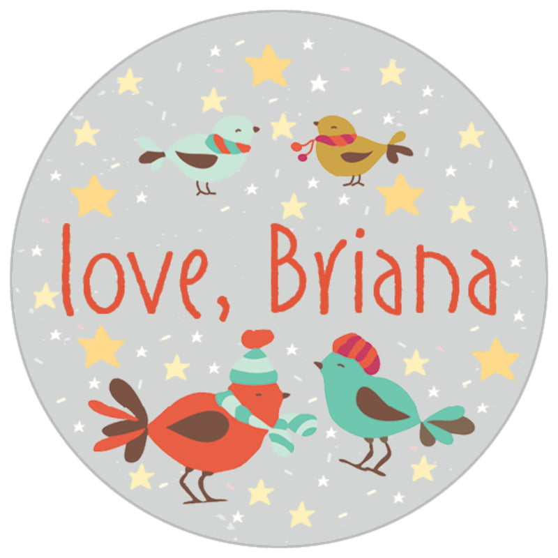 small circle food/craft labels - stone - merry birdies (set of 70)