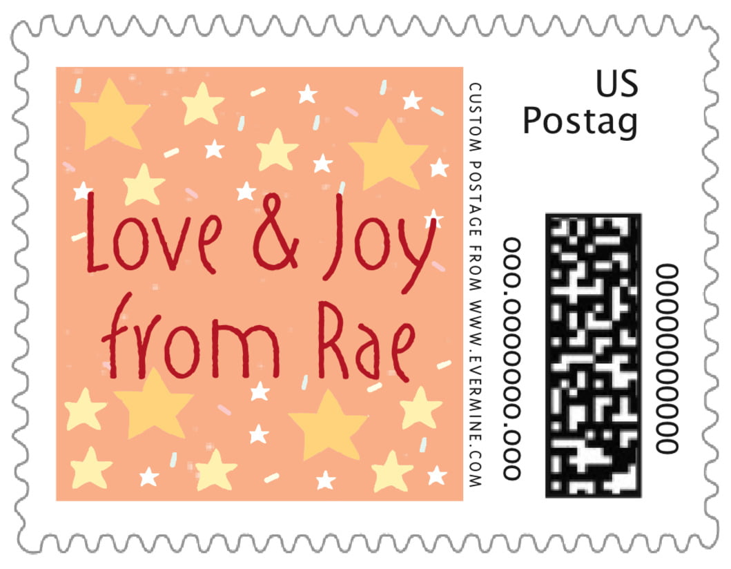 small custom postage stamps - peach - merry birdies (set of 20)