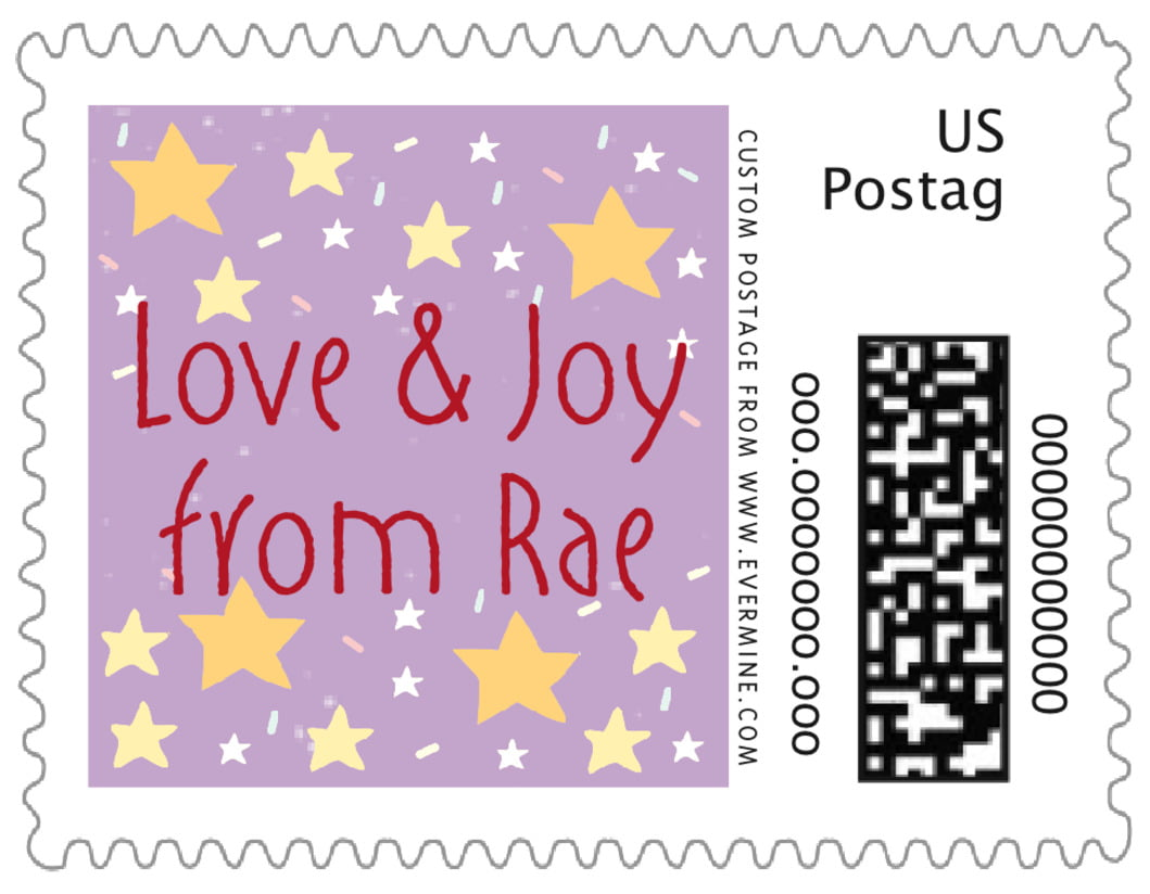 small custom postage stamps - purple - merry birdies (set of 20)