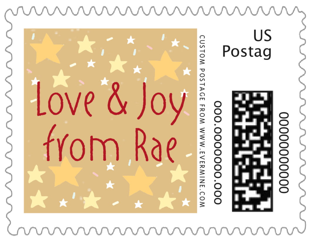 small custom postage stamps - deep gold - merry birdies (set of 20)