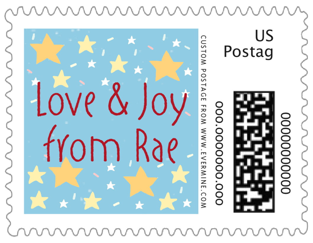 small custom postage stamps - sky - merry birdies (set of 20)