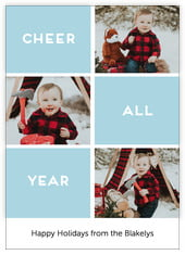 Cheer All Year Photo Cards - Vertical In Blue Mist