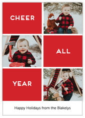 Cheer All Year Photo Cards - Vertical In Deep Red