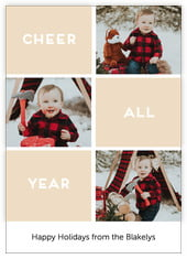Cheer All Year Photo Cards - Vertical In Cappuccino
