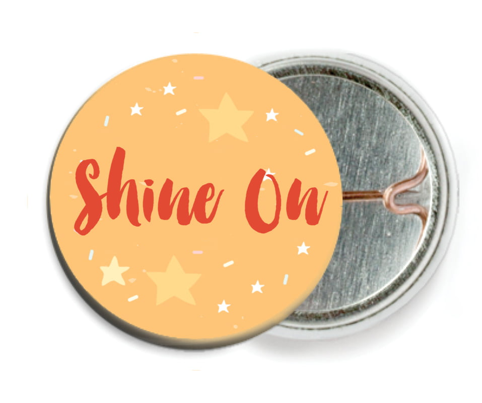 custom pin back buttons - orange - starry sky (set of 6)