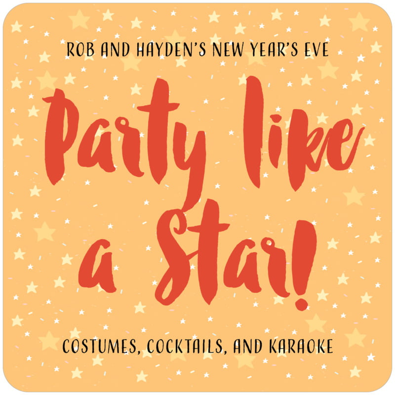 square beer coasters - orange - starry sky (set of 12)