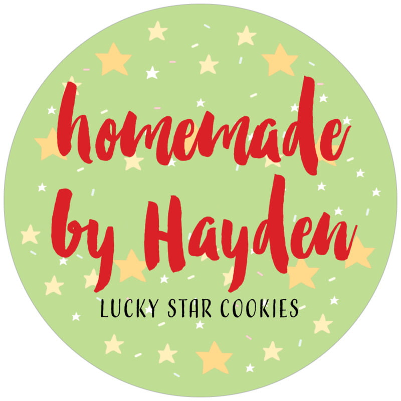 circle food/craft labels - lime - starry sky (set of 12)