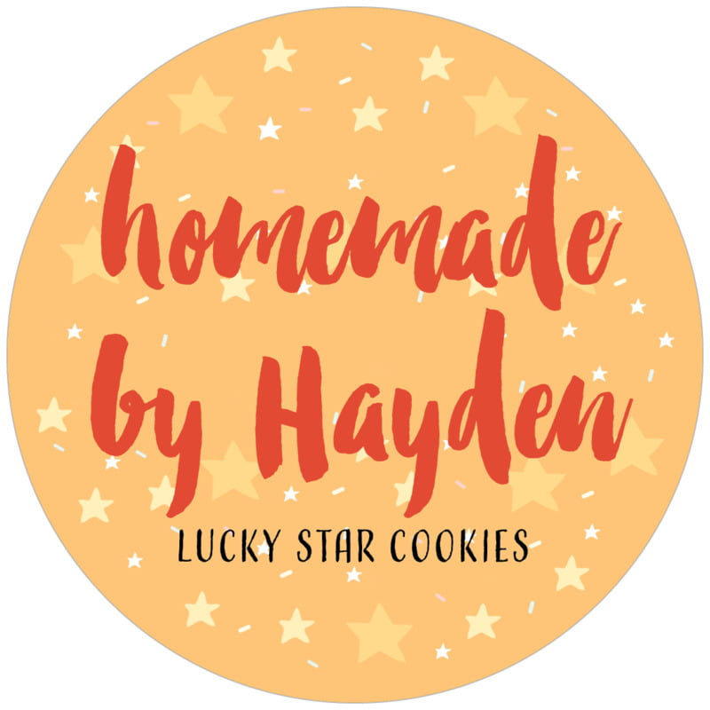 circle food/craft labels - orange - starry sky (set of 12)