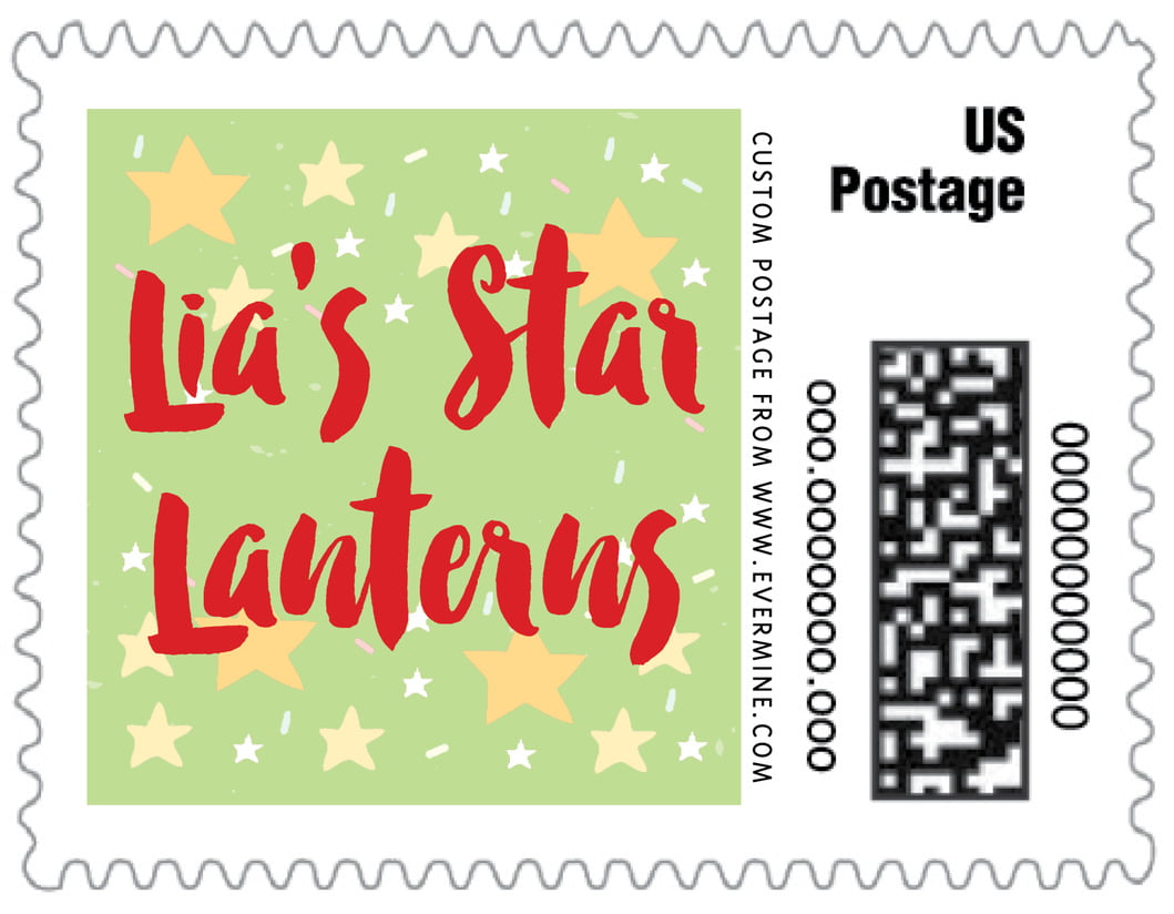 small custom postage stamps - lime - starry sky (set of 20)