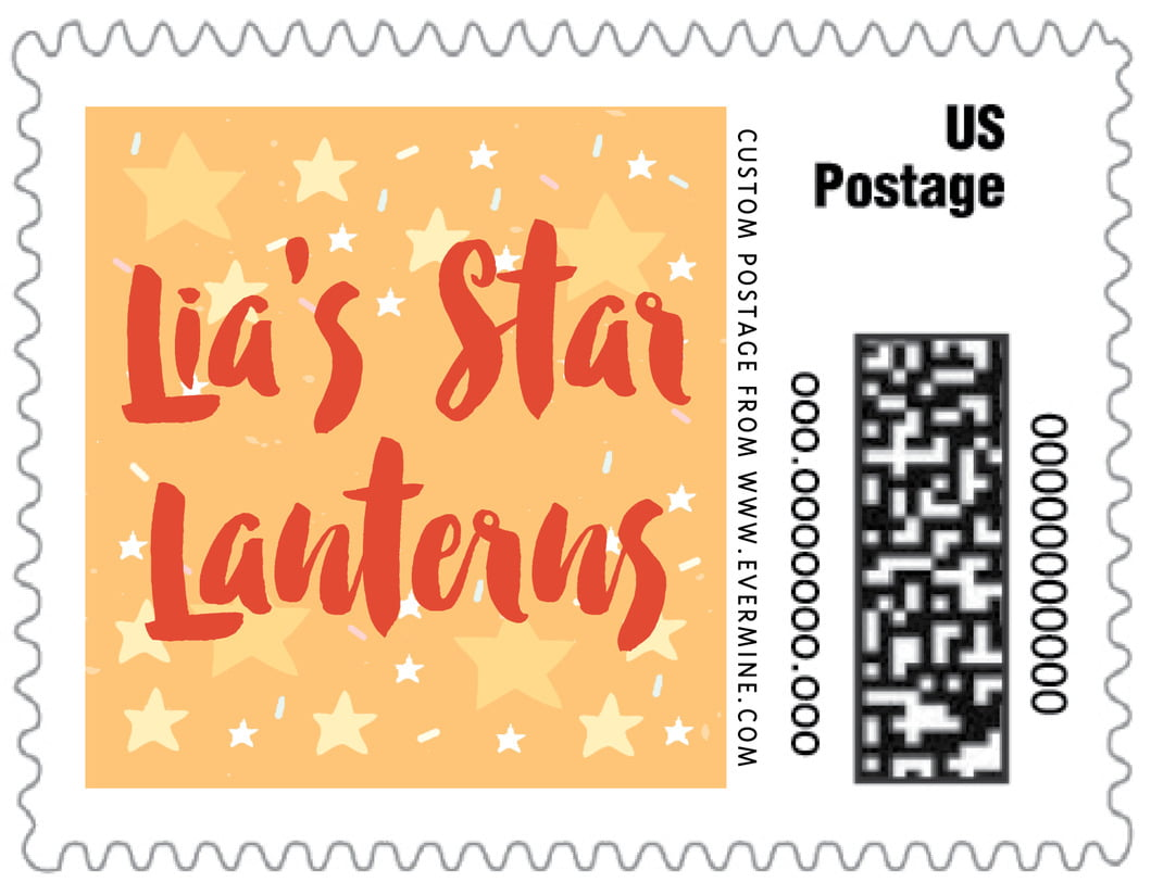 small custom postage stamps - orange - starry sky (set of 20)