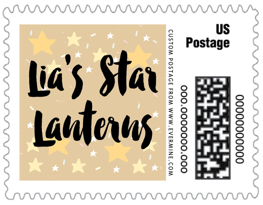 small custom postage stamps - deep gold - starry sky (set of 20)