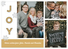 Snow Day Photo Cards - Horizontal In Deep Gold