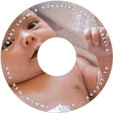 Caption baby shower CD/DVD labels