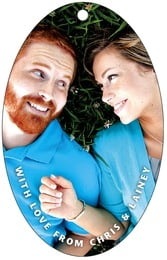 Caption large oval hang tags