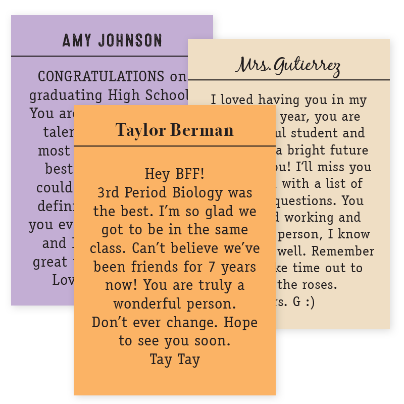 tall yearbook message stickers
