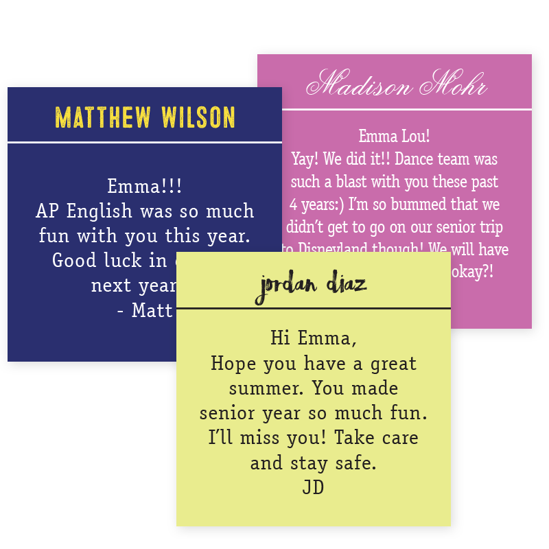 square yearbook message stickers