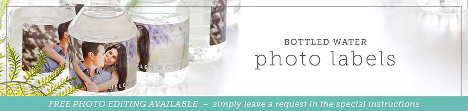 photo bottled water labels