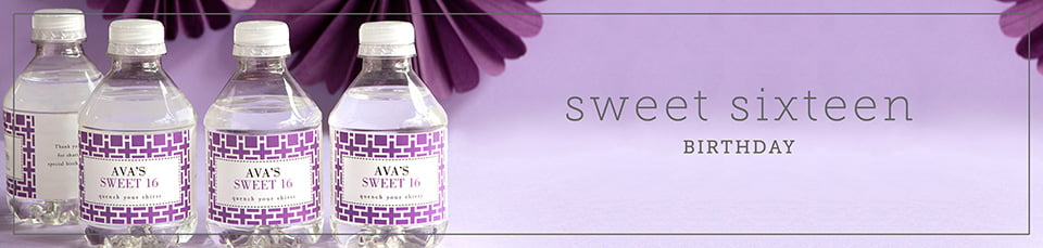 Custom Sweet 16 Water Bottle Labels