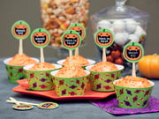 cupcake wrappers - jack o lantern style